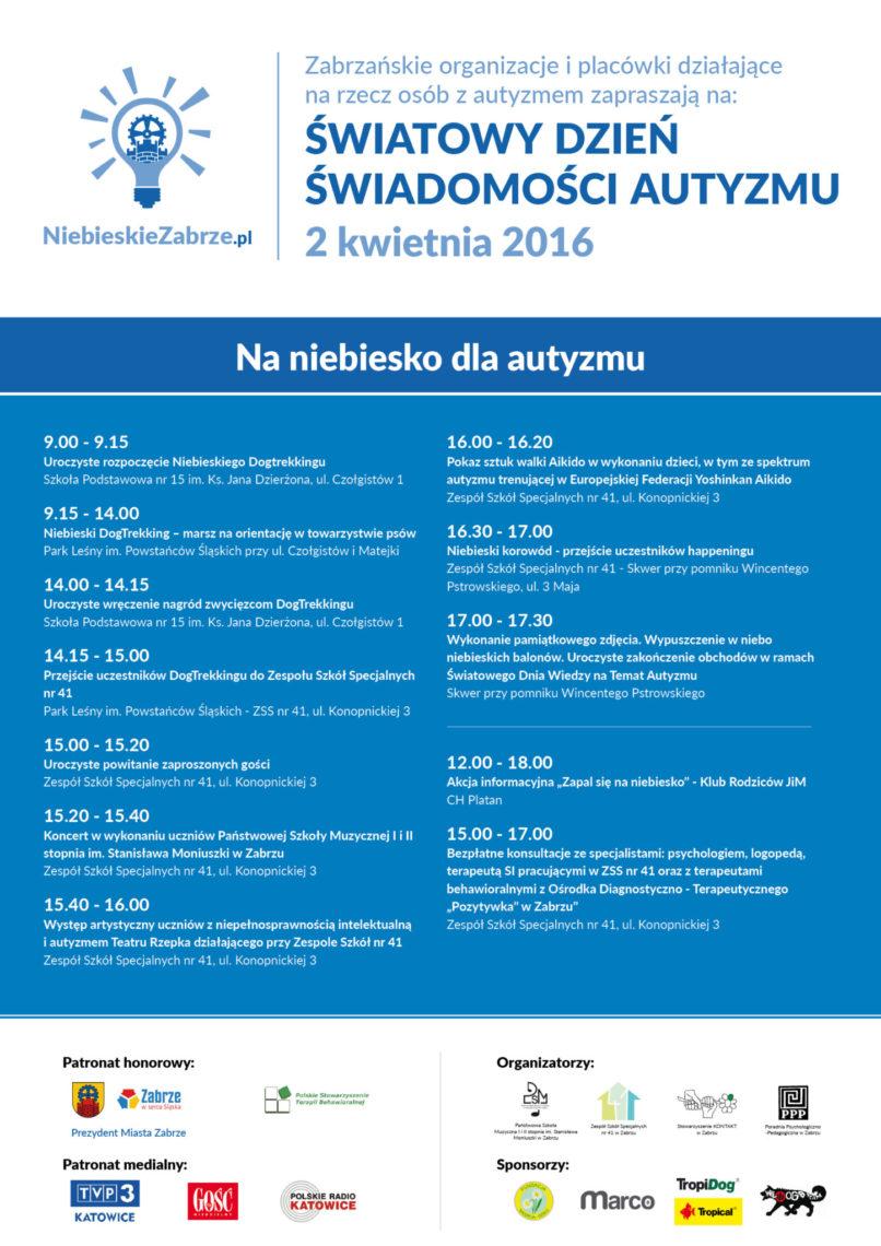 Program obchodów Miesiąca Wiedzy naTemat Autyzmu wramach Kampanii Społecznej Niebieskie Zabrze 2016