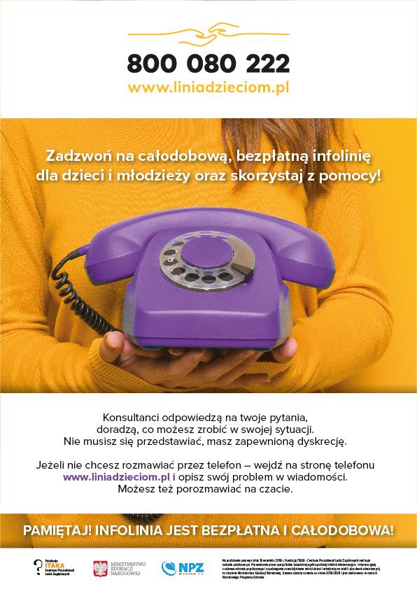 Bezpłatna infolinia dla dzieci, młodzieży, rodziców i pedagogów